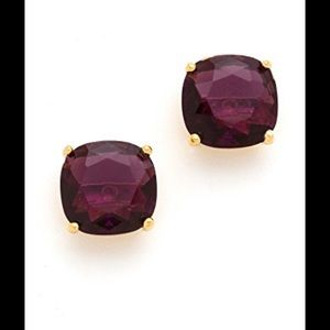 Kate spade square faceted stud amethyst and gold